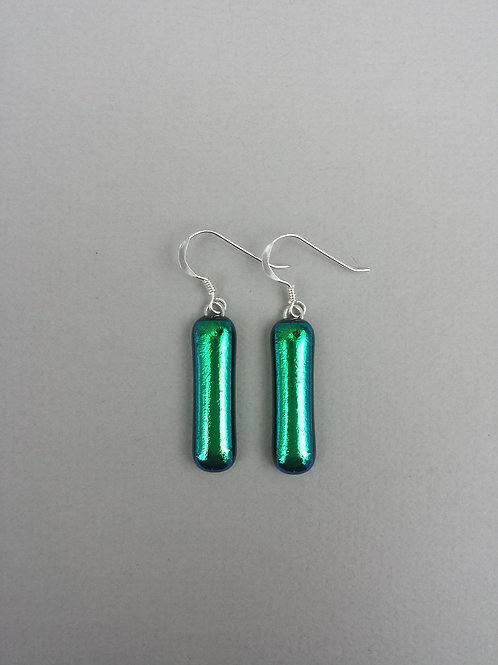 Emerald Green Dichroic Glass Earrings