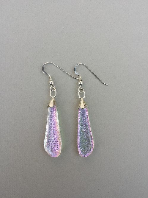 Magenta Dichroic Glass Drop Earrings