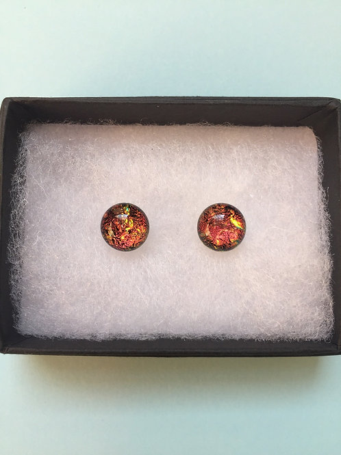 Lava Red Dichroic Glass Stud Earrings