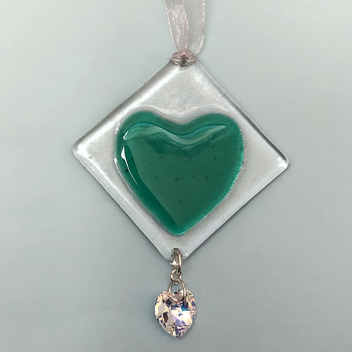 Green Glass Heart with Austrian Crystal