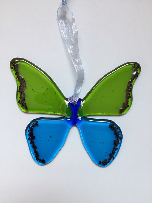 Lime and Turquoise Glass Butterfly