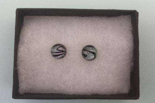 Silver Dichroic Glass Stud Earrings