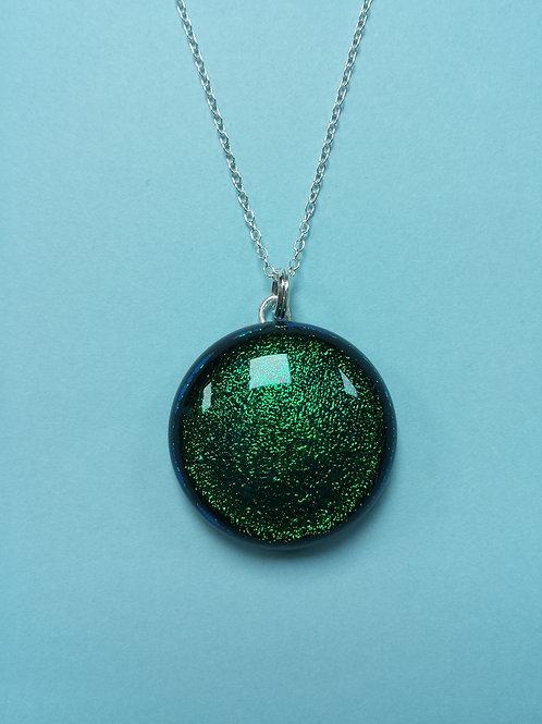 Dichroic Glass Emerald Pendant