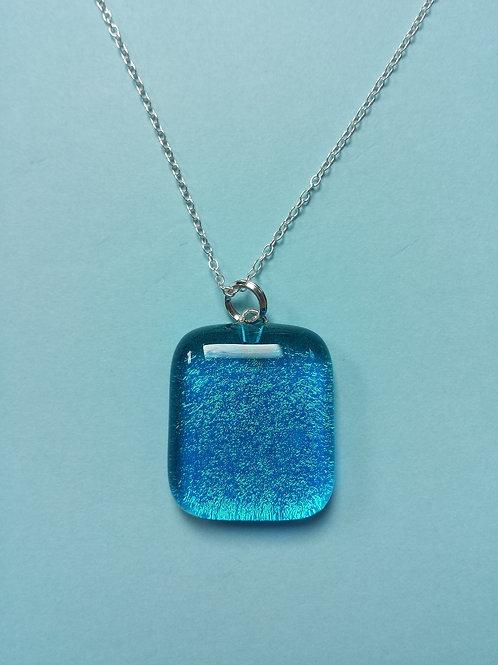 Turquoise Dichroic Glass Pendant
