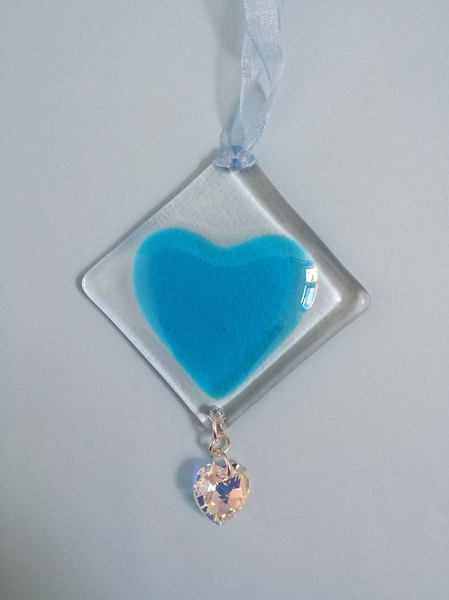 Turquoise Glass Heart with Swarovski Crystal