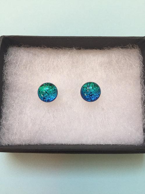 Light Green/Turquoise Dichroic Glass Stud Earrings