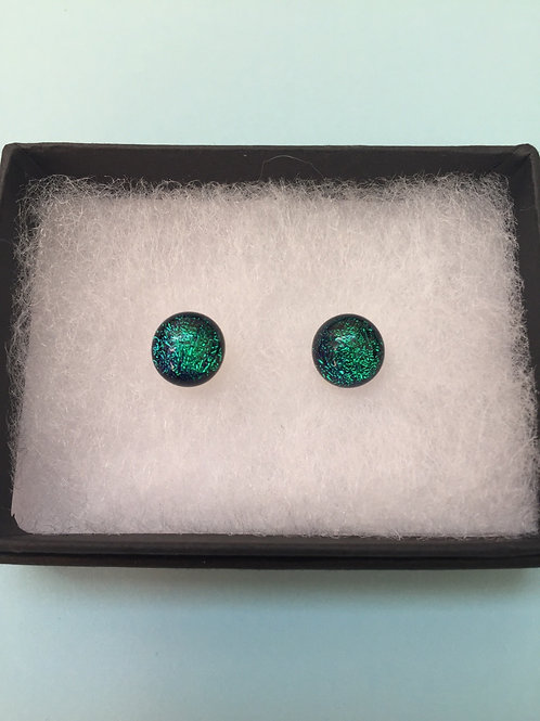 Emerald Green Dichroic Glass Stud Earrings