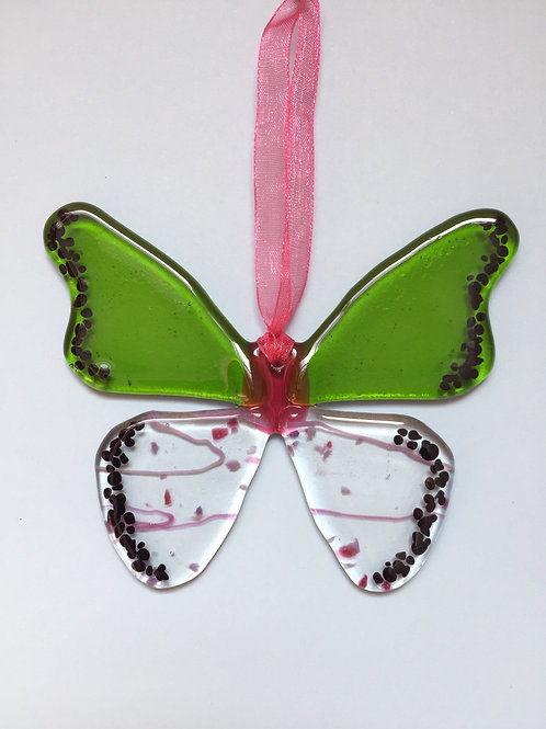 Lime and Pink Glass Butterfly