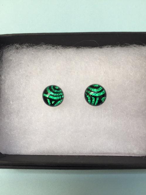 Green Swirl Dichroic Glass Stud Earrings