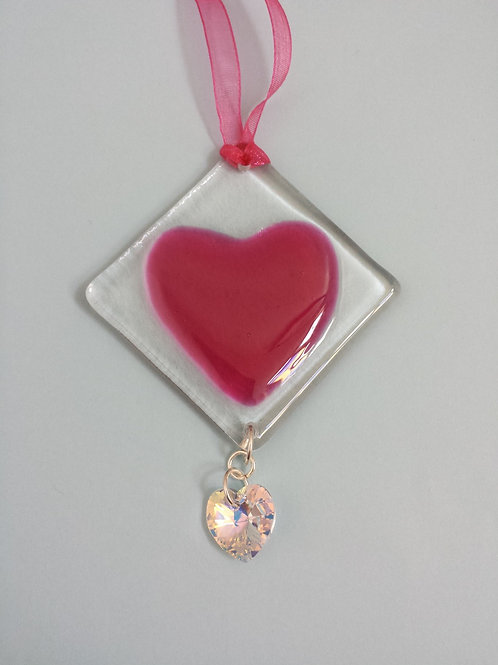 Pink Glass Heart with Austrian Crystal