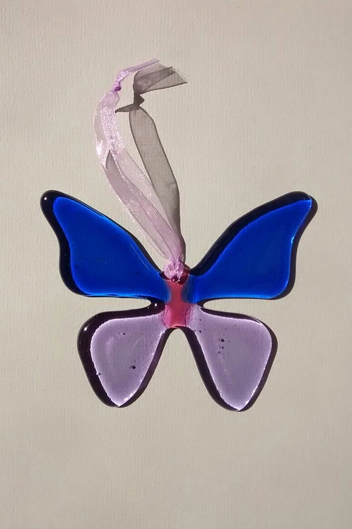 Blue and Lavender Glass Butterfly