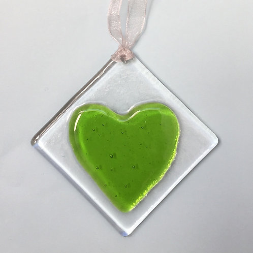Lime Green Glass Heart
