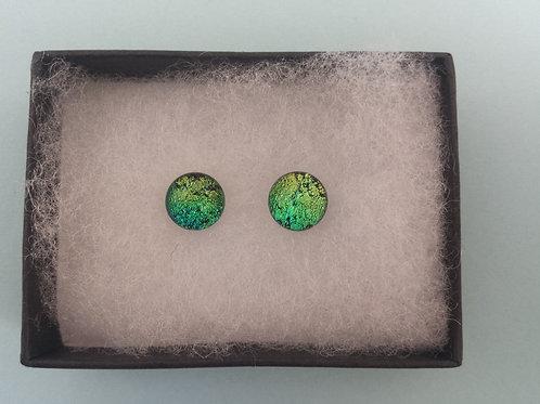 Gold/Green Dichroic Glass Stud Earrings