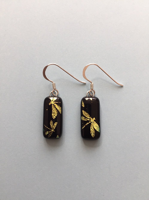 Gold Dragonfly Dichroic Glass Earrings