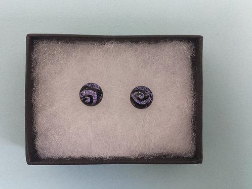 Purple Swirl Dichroic Glass Stud Earrings