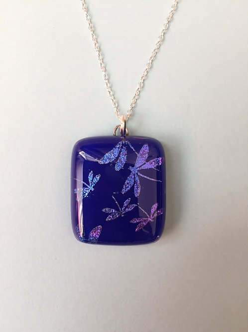 Dichroic Glass Dragonfly Pendant