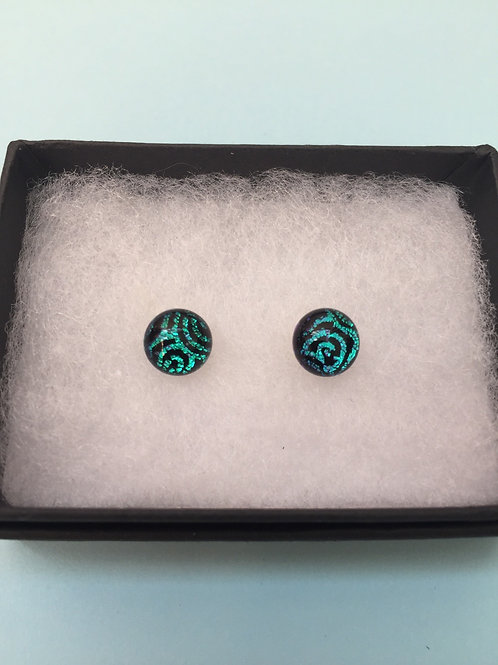 Green Swirl Dichroic Glass Stud Earrings