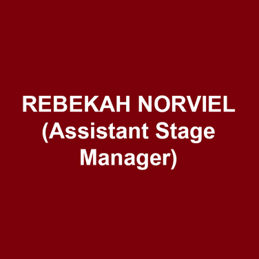 REBEKAH NORVIEL (AEA Assistant Stage Manager) DTC debut. Regional: A Streetcar Named Desire (Arden Theatre Company, upcoming); Assistant Stage Manager for Ragtime (Arden Theatre Company); Mud Row, A Number, Nina Simone: Four Women, Cinderella: A Musical Panto, Lights Out (People's Light); Stage Manager for Romeo and Juliet (Lantern Theater Company); Assistant Stage Manager for Loch Ness, Nikola Tesla Drops the Beat, Island Song, Home (Adirondack Theatre Festival) Workshops/Readings: Stage Manager for Archipelago, Cave Canem (PlayPenn); The Blue Ridge Nightingale, Such Things as Vampires (People's Light). Education: M.A. in Theatre - Bowling Green State University; B.A in Art History and Metalworking - Ball State University. Love to Ryan.