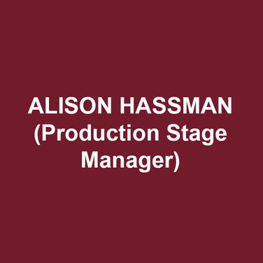 ALISON HASSMAN (Production Stage Manager) is thrilled to be with DTC for her third season. New York: Hamilton; The Nutcracker (New York City Ballet, Lincoln Center); Macy's Thanksgiving Day Parade; A Gentleman and his Ladies (Roundabout Theatre Company, with Alan Cumming); Cherry Lane Theatre; Westside Theatre; 59E59; York Theatre Company; 24 Hour Play Company. Regional: McCarter Theatre Center, Two River Theater, six seasons with Pennsylvania Shakespeare Festival, Theater Horizon, Trinity Repertory Company, Bristol Riverside Theatre, Premiere Stages, Philadelphia Theatre Company, Bucks County Playhouse.