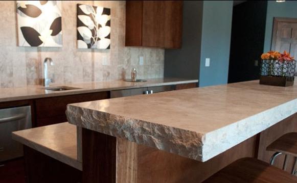 Limestone bar countertop