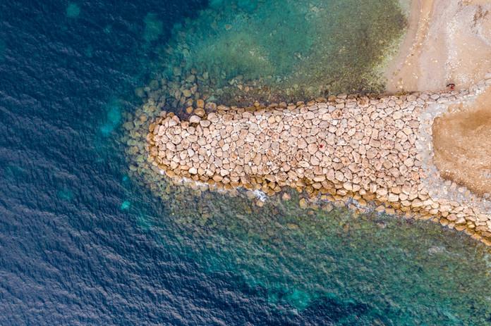 Rock pier drone aerial footage