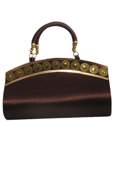Brown Non Leather Magnet Button Clutch For Women
