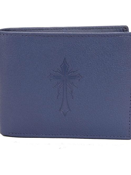 Verage Hidelink Blue Leather Regular Wallet For Men