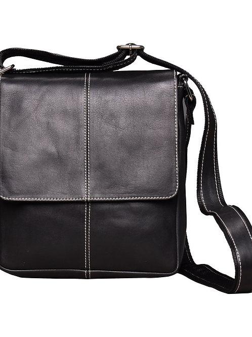 Verage Black Leather Messenger Bag