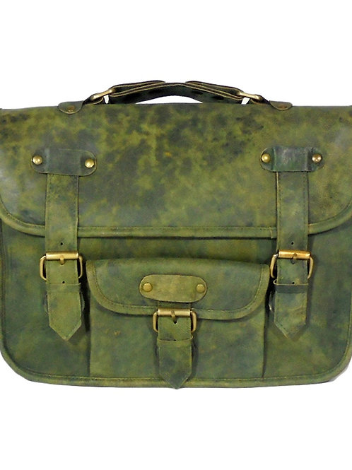 Verage Adimani Green Leather Messenger Travel Bag