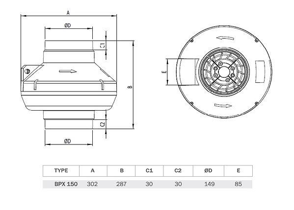 BPX канальныйкруглыйвентиляторс пластмассовым корпусом