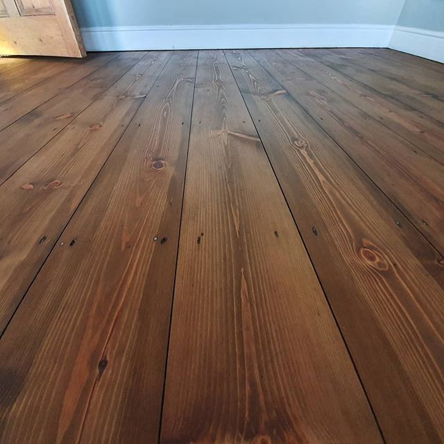 Pine floor sanded , stained and oiled