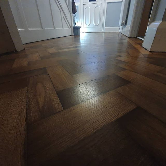 Lovely 100 year old parquet sanded , fil