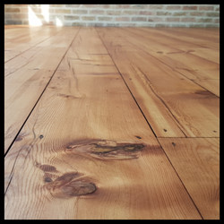 Pine floor sanded and stained