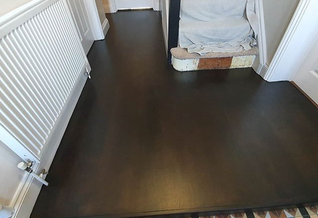 cherry floor sanded and stained