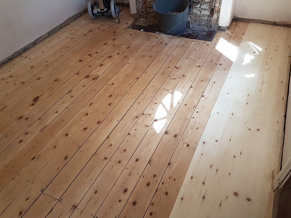 Pine lounge sanded back