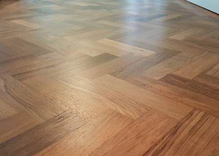 Parquet hallway sanded , filled and lacq