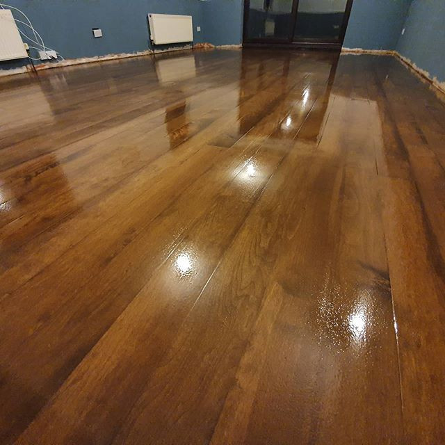 solid maple stained and lacquered