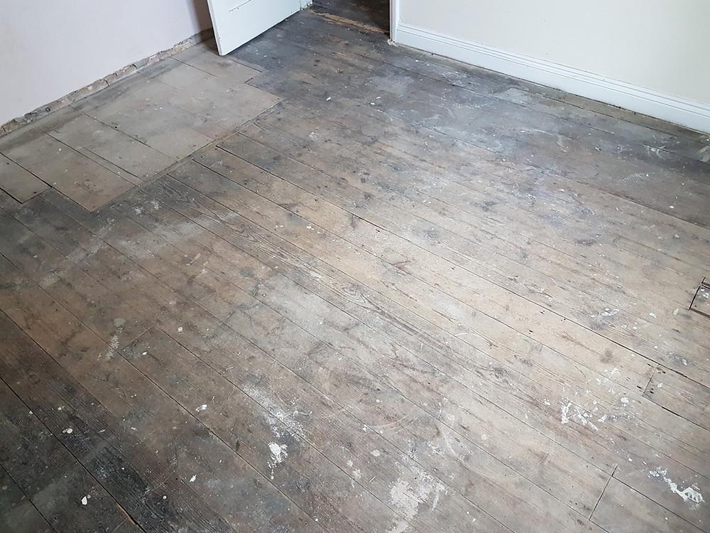 Pine wood floor sanding Cambridgeshire before