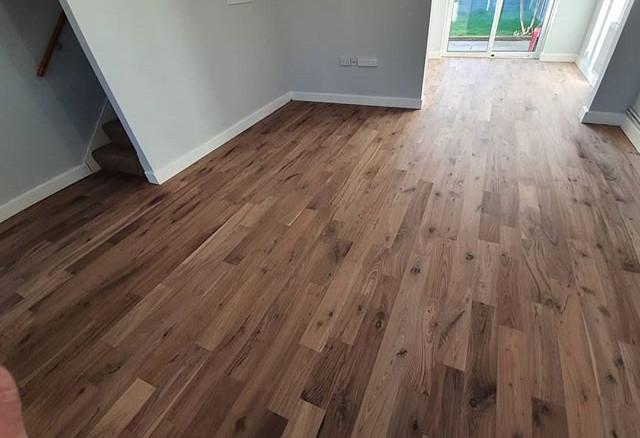 walnut floor sanded and matt lacquered