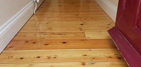 pine hallway sanded and lacquered