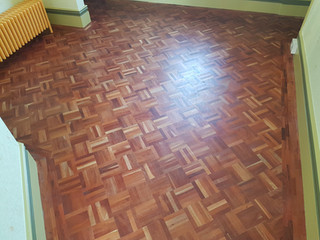 Singaporean mahogany parquet.