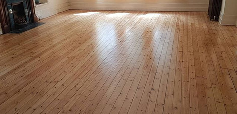 Pine floor sanded and matt lacquered