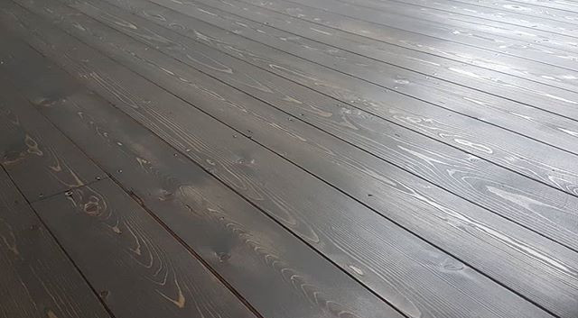 Pine floor sanded and stained grey