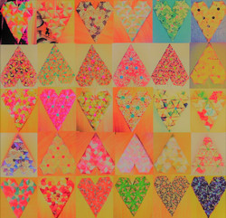 MBL ORIGAMI HEARTS BRIGHT PATTERN