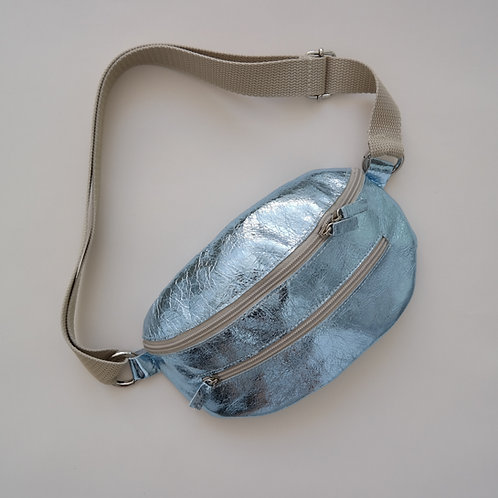 HIP BAG mini blue metallic