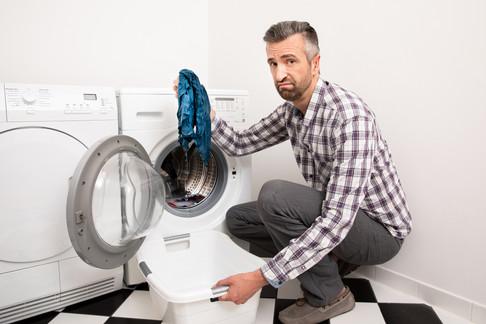 Advertising photography by Alasdair Jardine. Faulty washing machine.