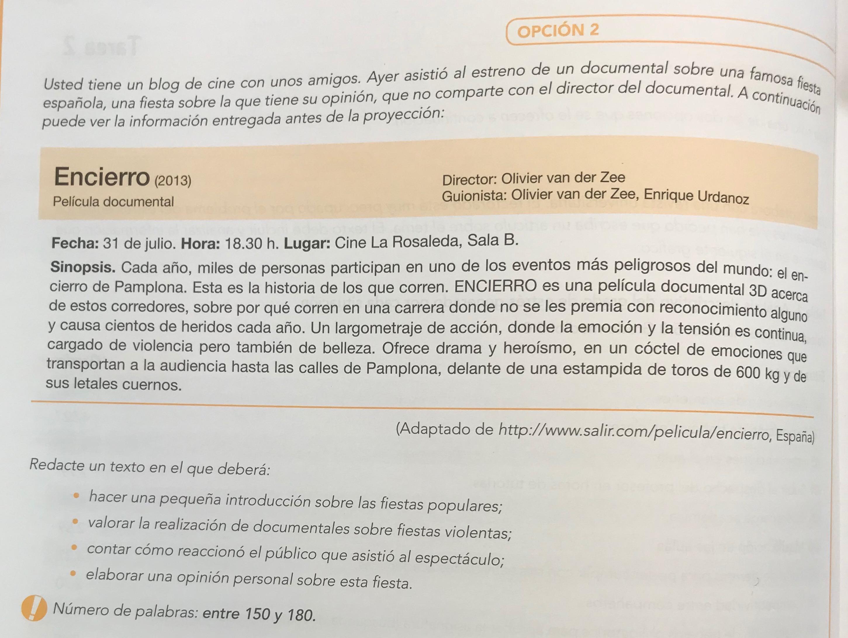 Ejemplo De Expresión E Interacción Escrita Dele B2 Tarea 2