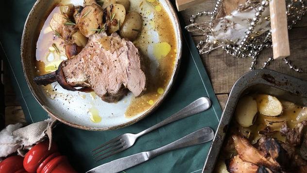 Риб роаст с молодым картофелем и виски