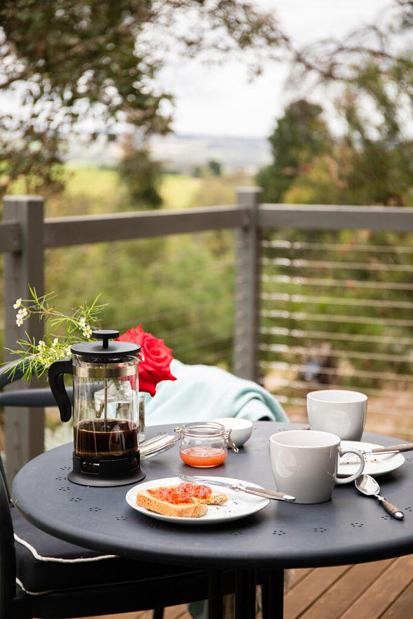 Breakfast on deck - PONDER Cottage