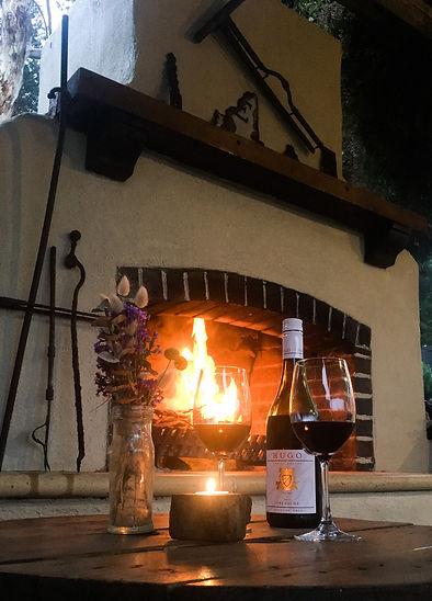 Communal Fireplace at Karawatha Cottages